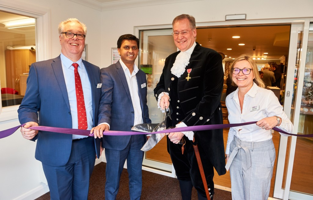 © Licensed to simonjacobs.com. 19.01.17 Horsham, UK. From left, Chris Hopkinson, Care UK Regional Operations Director, Devendra Lallchand, Skylark House home manager, Mark Spofforth OBE, High Sheriff of West Sussex and Angi Knight Regional Director South London officially open Care UK's care home, Skylark House, Horsham. FREE PRESS, EDITORIAL AND PR USAGE. Photo credit: Simon Jacobs