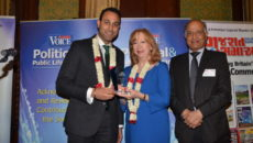 Harnoop Atkar with Eleanor Laing MP and the editor of Asian Voice CB Patel