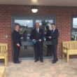 Rtd Lft Col Keith Seddon MBE (centre) officially opens Kingfisher Court with Oakdale Care co-founders Andrew Long (left) and Chris Babington (right)