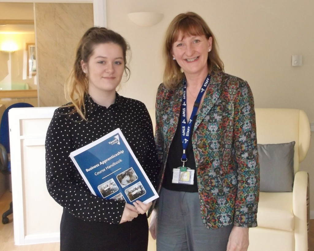 Apprentice Hannah Long (left) and Honey Morris of Yeovil College