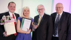 Greensleeves Professional of the Year Mandy Lord with Paul Newman, Greensleeves CEO (left)