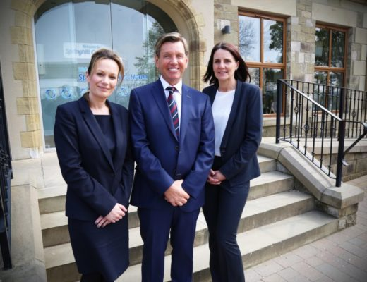 L-R Virginia Perkins, Ken Nolan (chairman) and Donna Brigg managing director of Springhill Care Group