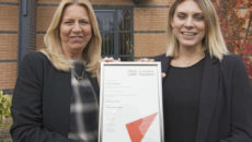Shelley Parker-Wain, Head of Training and Development at Avery Healthcare (left) receiving the award from Amanda Kilpatrick from City & Guilds