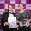 Care UK's Tony Weedon and Jacqui White collect the trophy for LaingBuisson Residential Care Provider award 2017