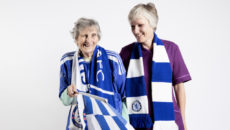 Chelsea fan, Elizabeth Lulley resident at Birchlands Care Home, Surrey with Care Assistant Janice Liston