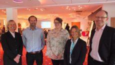 Elaine Farrer, Colten Care Operations Director; Rick Otten, Colten Care Co-Chairman; Admiral Nurse Kay Gibson; Dementia UK's Rachel Johnstone; and Mark Aitchison, Colten Care Chief Executive