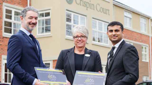 Simon Lawrence (Group Culinary Manager), Lorraine Ford (Home Manager) and Davesh Kumar (Head of Hotel Services)