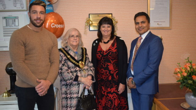 Welsh rugby player Rhys Webb with the Mayor of Cardiff Councillor Monica Walsh, General Manager Karen Grapes and Hallmark Care Homes Managing Director at Avnish Goyal at the relaunch of Shire Hall Care Home last November