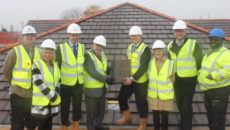 From left: Andrew Asker (Site Manager, LNT Care Developments), Sarah Gibbs (Service & Relationship Manager for Layston Grove), Chris Babington (Founding partner at Oakdale Care Group), Mayor of Buntingford Councillor John Noades, Andrew Long (Founding partner at Oakdale Care Group), Mayor Consort Janet Noades, Craig Ambler, (Clydesdale Bank), Carl Carrington (Assistant Site Manager LNT Care Developments)