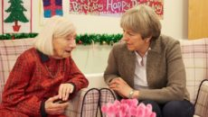 Theresa May visting Irene Thompson at Clara Court on her 109th birthday