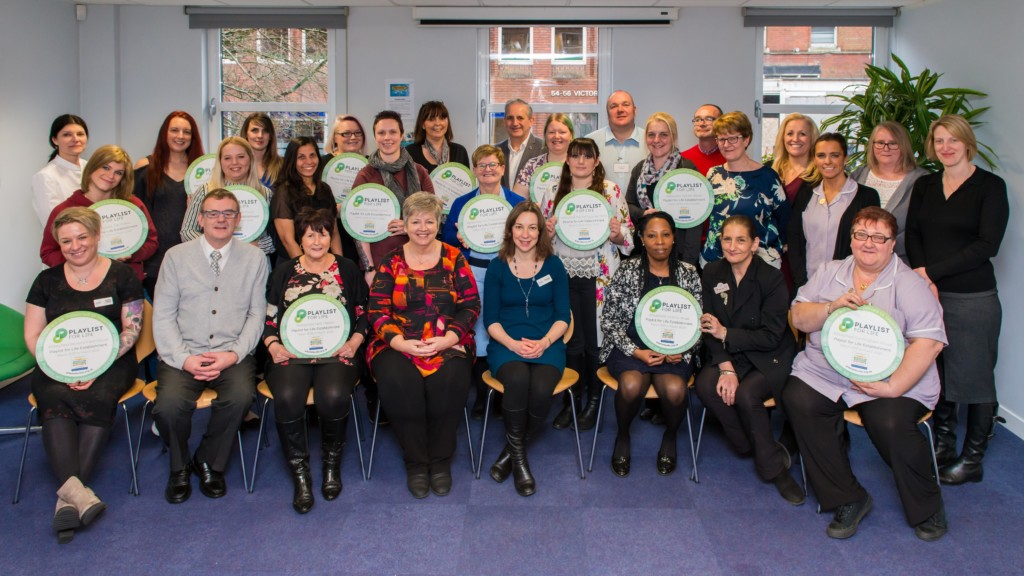 Image 1 – Abbeyfield and Playlist for Life representatives with staff from every Abbeyfield house or home receiving their accreditation