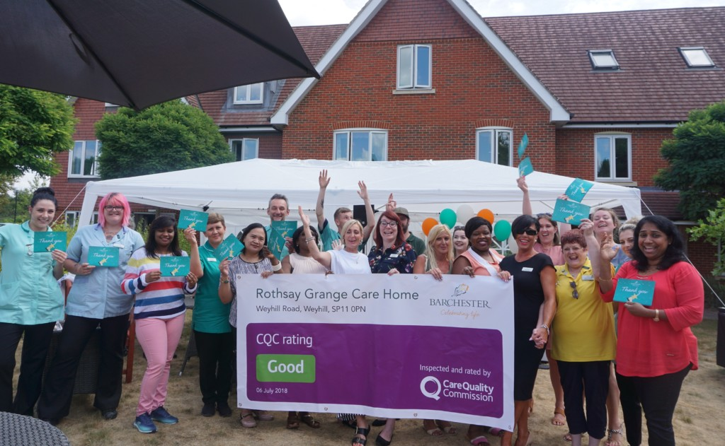 Rothsay Grange celebrating GOOD CQC- photo credit to Andover Advertiser