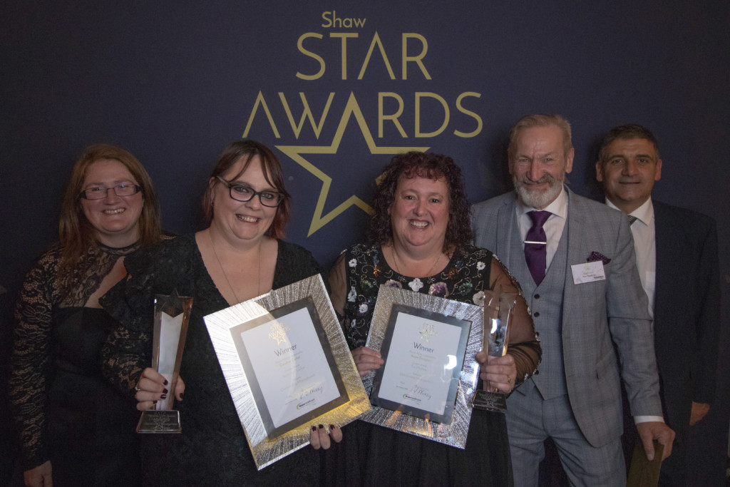 (1) Zarah Conway (Shaw healthcare) award winners Caroline Carter and Angie Douglass Ken Rawlins and Jamie Griggs (Pensworth Dairies)