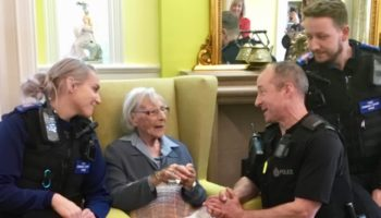 Anne in Handcuffs with PCSO Kelly and PC Steve and Rob