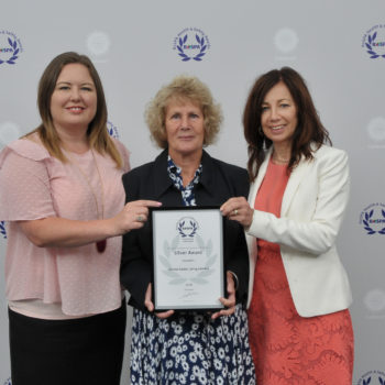 Rebecca (middle) pictured with UK CEO Natalie-Jane Macdonald and Joanne Balmer Sunrise and Gracewell's Senior Care and Quality Director