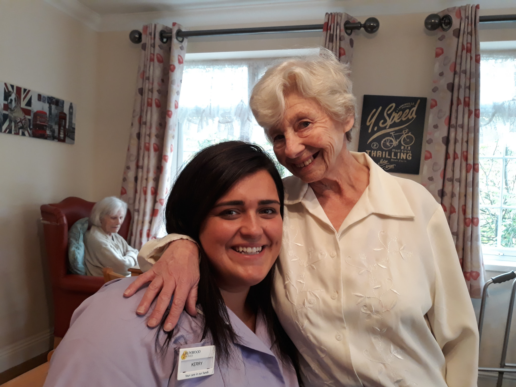 Carer and Resident at Evelyn May House
